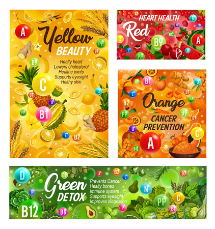 Rainbow diet healthy food and vitamins in fruits and vegetables. Vector color diet organic and natural nutrition salads and berries, green detox or red heart health and citrus cancer prevention