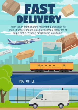 Fast delivery, post office mail, correspondence and parcels shipping. Vector post office and express delivery courier van with newspapers and letter envelopes cargo on airplane or railroad freight Illustration