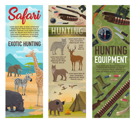 African Safari hunting, forest hunt and savanna animals trophy with hunter ammo. Vector elephant, zebra or giraffe and hippopotamus, traps and carbine rifle guns, wold or deer and boar with ducks 写真素材 - 125315536