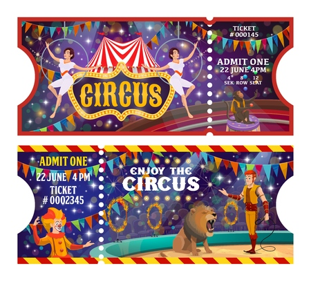 Circus tickets to animals and acrobats or clown show. Vector vintage bit top circus retro cartoon tickets, funfair carnival performance equilibrist, tamer with lion and fire rings and monkey juggling Illustration
