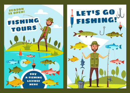 Fishing tours and fisher adventure sport. Vector fisherman with tackles and fish catch lures at sea or river and lake fishing pike, perch or salmon and trout