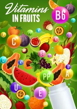 Vitamins in fruits, natural organic healthy food. Vector multivitamins and mineral complex in figs, watermelon or papaya and tropical avocado, tangerine or orange citrus and grapes