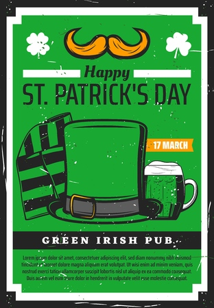 St Patrick day holiday green vintage poster of Irish beer pub. Vector Saint Patrick Ireland holiday shamrock lucky clover leaf, leprechaun hat and mustaches with scarf and ale beer pint mug