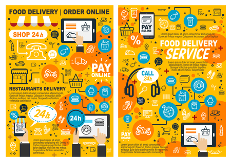 Fast food online order and delivery poster. Vector fastfood restaurant or cafe meals menu, pizza, burgers and snacks hot dog, barbecue chicken, fries and ice cream dessert and coffee drinks