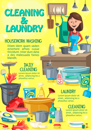 Home cleaning service, housework laundry and washing. Vector housekeeping woman in apron washing kitchen plates with soap and sponge, laundry detergent, vacuum cleaner and floor mop