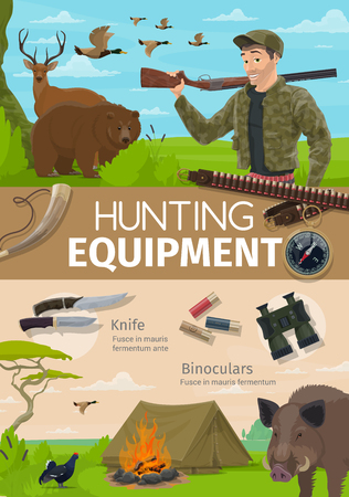 Hunting open season adventure and hunter equipment poster. Vector hunt camping, ammo rifle bullets and traps, forest wild animals bear with deer or boar, ducks and pheasant