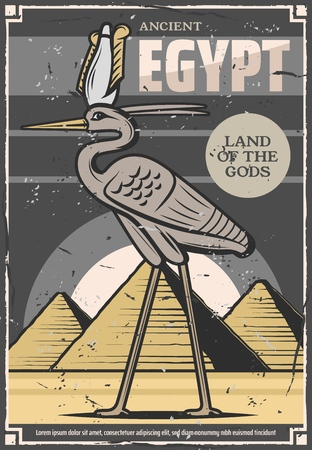 Egypt travel and ancient Egyptian culture tours poster. Vector Bennu god or heron bird deity and Egypt historic landmarks of Cheops and Tutankhamen pyramids in Cairo or Giza