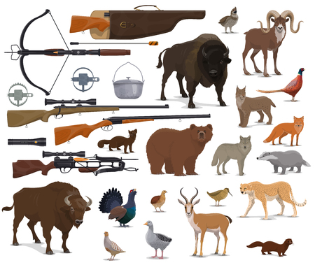 Hunt animals and hunter ammo equipment. Vector isolated hunting traps, rifle carbine and crossbow, bear or buffalo and wild duck or grouse birds with African safari cheetah and ermine Archivio Fotografico - 116740443