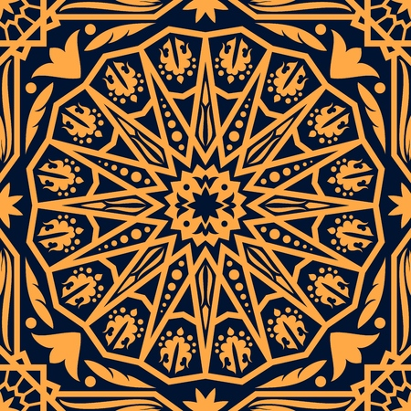 Arabic ornament or pattern, oriental carpet, decorative background. Vector wallpaper, floristic and geometric motifs, lines with dots and star. Asian culture element, ancient ornamental art, texture Illustration