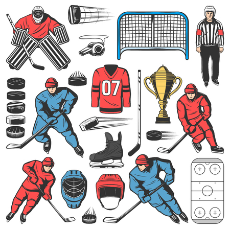 Ice hockey players team, outfit and equipment icons. Vector forward, defenseman and goaltender or goalkeeper with ice hockey pucks and sticks, skates, shin or shoulder pads, gloves and helmets