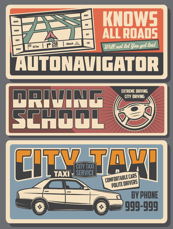 Transport route GPS navigator, extreme driving school or city taxi service. Vector automotive transportation vintage posters, vehicle industry