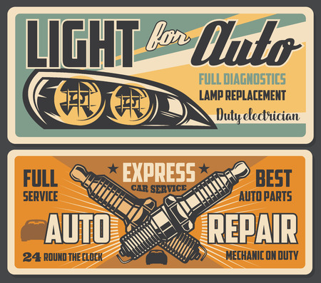 Car service auto light lamps diagnostic and replacement, spark plugs change. Vector retro posters of automotive mechanic restoration and garage station or transport spare parts shop