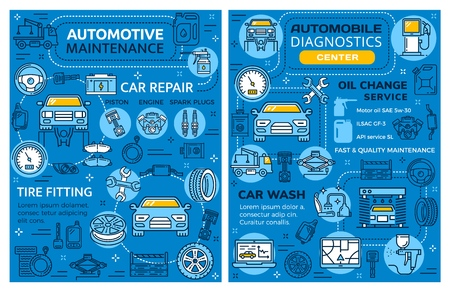 Car repair or automotive vehicle diagnostics service. Automobile transport restoration garage station, oil change and brake replacement or tire fitting and pumping, auto mechanic maintenance