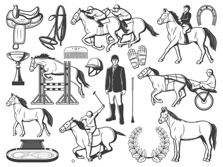 Equestrian sport, horse polo racing equipment accessory. Polo jockey rider bat and outfit, horse racing carriage and saddle harness, equine horserace cart on ride course and horseshoe vector icons 일러스트