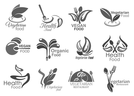 Vegetarian cuisine healthy food eating icons. Vector symbols of vegan leaf salad, fork and spoon cutlery, natural organic vegetarian restaurant or cafe sign Standard-Bild - 116740451
