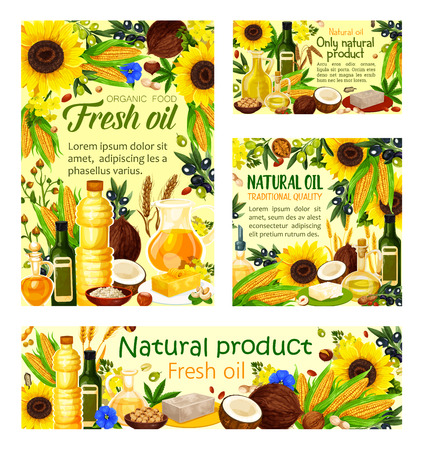 Natural cooking oils products posters and banners. Vector oil bottles and jars of sunflower, olive or linseed flax and peanut and maize corn oil with coconut butter Çizim