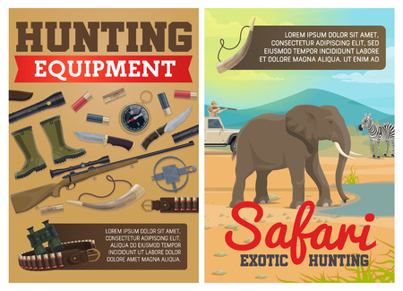 Safari hunting ammo equipment and hunter traps. Vector exotic hunt elephant and zebra animals in savanna, hunter in pickup car with rifle carbine, crossbow arbalest or knife and compass
