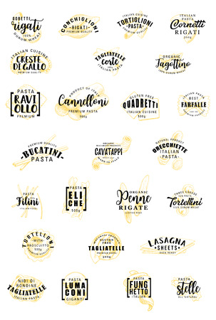 Italian pasta sketch lettering. Vector durum gluten free Italy pasta calligraphy icons of gobetti rigati, conchiglioni or tortiglioni with canneloni or quadretti and farfalle, eliche or fagottini