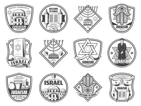 Simboli della cultura e della religione ebraiche, icone della tradizione delle feste dell'ebraismo. Vector Hannukkah Menorah Hanukiyot, David Star o rotolo della Torah e sacerdote rabbino con amuleto della mano Hamsa, corno Shofar e dreidel Vettoriali