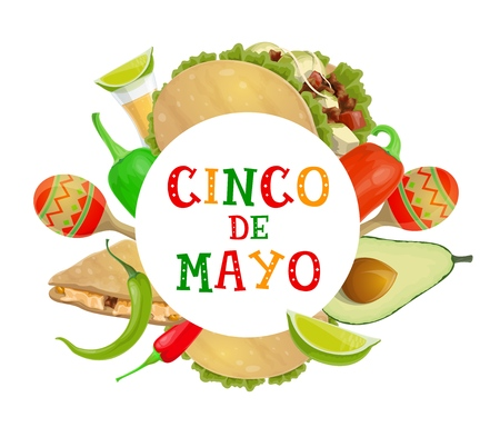 Mexican holiday Cinco de Mayo celebration poster of chili and jalapeno pepper, maracas and tequila. Vector Cinco de Mayo Mexico party lime, avocado and quesadilla with tacos and guacamole