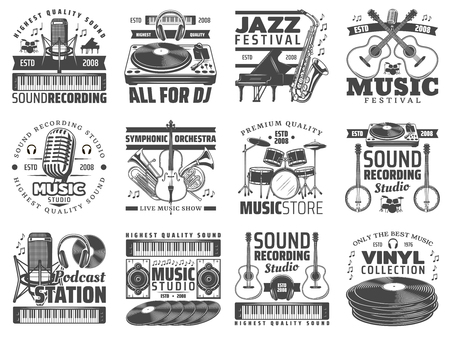 Music icons, live festival or sound recording studio and musical instruments shop. Vector podcast online radio station, jazz club microphone with vinyl disk and headphones or synthesizer 向量圖像
