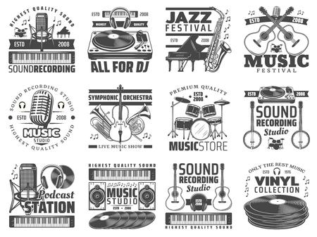 Musikikonen, Live-Festival oder Tonstudio und Musikinstrumentenladen. Vektor-Podcast-Online-Radiosender, Jazzclub-Mikrofon mit Vinylscheibe und Kopfhörer oder Synthesizer