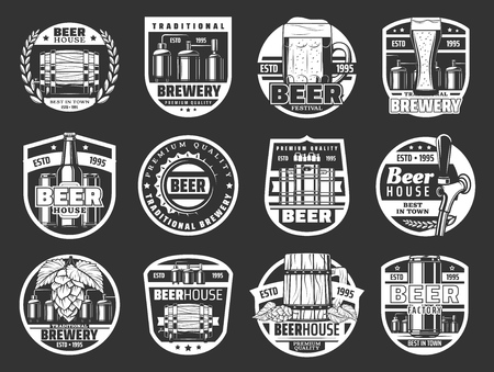 Beer brewery pub and bar icons of craft pint mugs and bottles with hop and malt. Vector brewing company production factory and Oktoberfest festival beer barrel