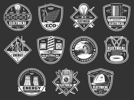 Symbole für Energieleistung und Strom. Vektorsymbole von Elektrikerwerkzeugen, Kraftwerk oder Energiesolarbatterie mit Windmühle, Öko-Elektroautotechnologie, Lampenschalter und Steckdosenstecker