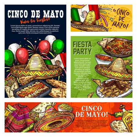 Cinco de Mayo Mexican holiday fiesta celebration. Vector sketch posters and banners of Cinco de Mayo traditional food tacos, nachos and guacamole with nachos, Mexico flag and poncho or sombrero Illustration
