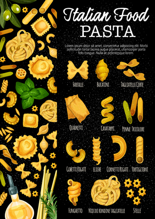 Italian pasta, Italy traditional food. Vector pasta sorts farfalle, bucatini or tagliatelle corte and quadretti, cavatappi or penne tricolore with gobetti rigati, eliche or cornetti and tortiglioni Illusztráció