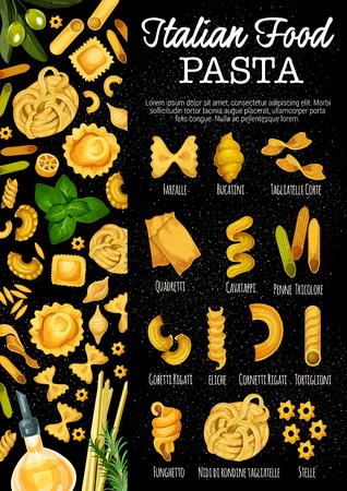 Pasta italiana, cibo tradizionale italiano. Vector tipi di pasta farfalle, bucatini o tagliatelle corte e quadretti, cavatappi o penne tricolore con gobetti rigati, eliche o cornetti e tortiglioni