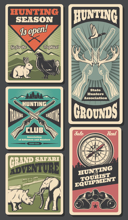Hunting open season wild animals and hunter ammo. Vector hunting adventure and African safari posters of elephant, rhinoceros or elk antlers and rabbit with grouse, binoculars and compass and rifles