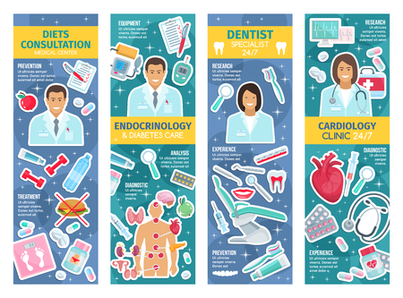 Cardiologist, endocrinologist and dentist doctors medical banners. Vector cardiology, dentistry dental health and endocrinology medicine diagnostic items and treatment pills