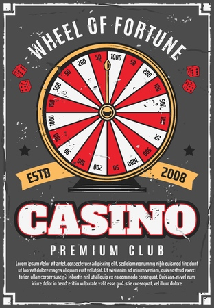Wheel of fortune and casino gambling games poster. Vector poker gamble dice and prize roulette with money jackpot win, stars and ribbons