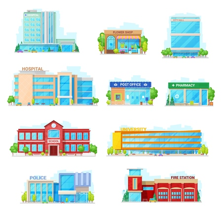 Houses and buildings vector icons. Isolated hospital, flower shop or city hall and post office or pharmacy, municipal school building and university or police and fire station Çizim