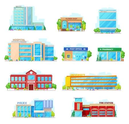 Iconos vectoriales de casas y edificios. Hospital aislado, floristería o ayuntamiento y oficina de correos o farmacia, edificio de la escuela municipal y universidad o estación de policía y bomberos