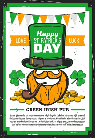 Happy St Patricks Day vector poster of religion Irish holiday design. Leprechaun with green hat, smoking pipe and clove leaves, gold coins, shamrock, orange beard and moustache with bunting flags