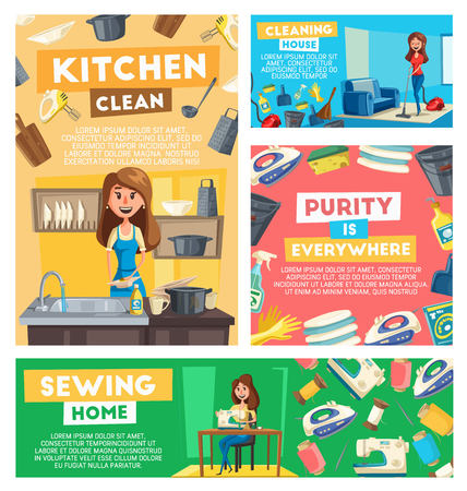 Home cleaning, kitchen dish washing and sewing service. working poster. Vector woman at housework vacuum cleaner mopping floor, sewing machine needlework and dishwasher at kitchen with soap and sponge 일러스트