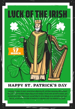 Happy Saint Patrick day traditional greeting and Irish symbols. vector vintage grunge green poster, St Patrick with ale beer pint, harp and shamrock lucky clover leaf in fireworks celebration