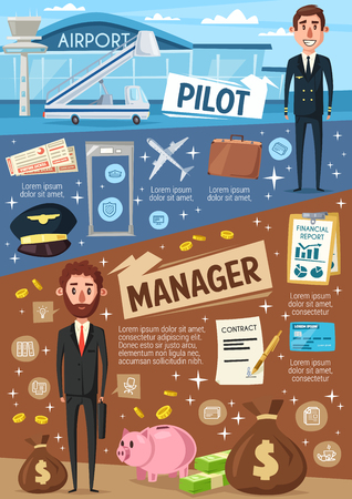 Pilot and business manager profession. Vector aviation and commerce people with work items, pilot crew or airport staff and flight attendant, company director or office worker with money investments  イラスト・ベクター素材