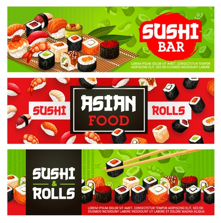 Sushi bar menu banners of sushi rolls, sashimi and maki. Vector Japanese food sushi with shrimp, salmon or tuna and scallop tempura or eel in rice and nori seaweed