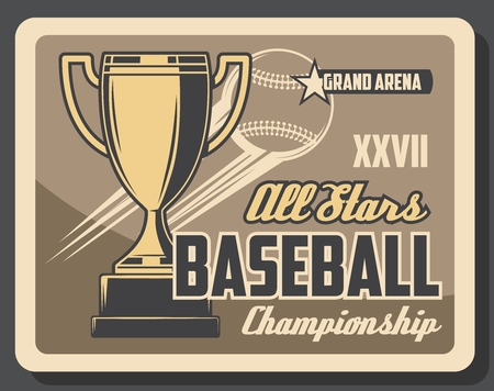 Baseball championship or sport league cup competition vintage poster. Vector baseball victory cup and flaying ball with star on arena Illustration