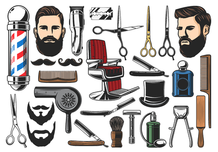 Barber tools, barbershop and hairdresser equipment, beard or mustache shave and haircut. Vector barber shop chair, pole signage, scissors and shaving brush, hair clipper and razor, dryer and comb