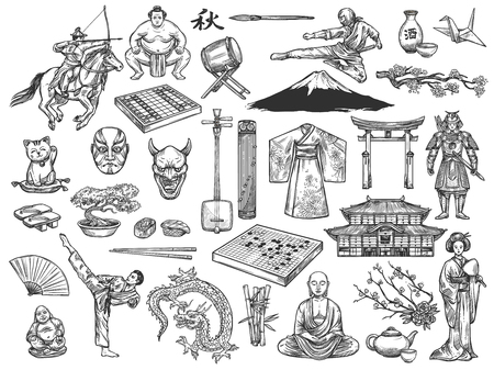 Japan historical culture traditional icons. Vector sketch sushi, geisha kimono or tea ceremony and ikebana, Japanese samurai or Go and Shogi, koto and shamisen, Fuji mount or sakura, sumo and bonsai