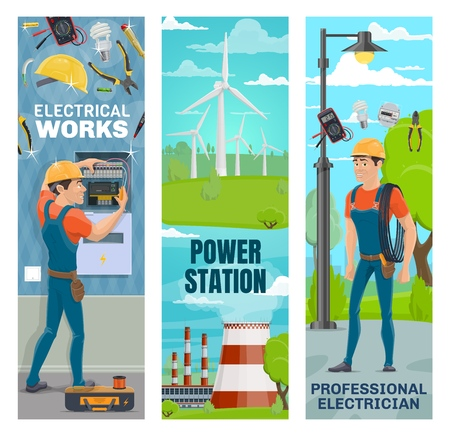 Electrician, energy power and electricity powerplant. Vector banners of electrical repair service, green energy industry of eco windmill and nuclear powerhouse Stock Illustratie