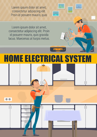 Electrician service and electrical repair house work profession. Vector electric technician man in uniform change lamp bulb in home kitchen or socket with electricity tools screwdriver and voltmeter
