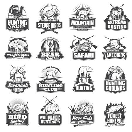 Hunting sport animal trophy, hunter ammo or hunt equipment. Vector hunting club badges African safari cheetah, buffalo,wolf or badger, bear or ermine and woodcock, goose or fox, partridge and sheep Illustration