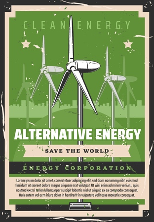 Alternative energy, windmills, ecology and eco friendly technologies. Vector enviironment protection, power station and electricity, natural renewable resource usage. Planet safety and clean world Illustration