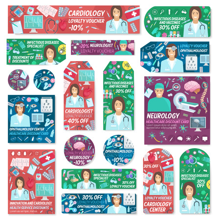 Doctors and medical clinic staff posters. Vector cardiology, neurology or ophthalmology and infectious disease medicine diagnostic item and treatment pills, X-ray and mri or therapist stethoscope Illustration
