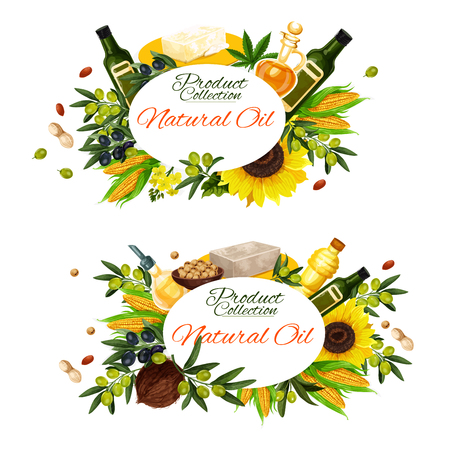 Natural cooking oils of sunflower, olive or linseed flax and peanut and maize corn oil. Vector extra virgin oil bottles and jars with organic palm, avocado or hemp seed and hazelnut oil